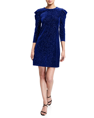 Glitter Velvet Puff-Sleeve Shift Dress