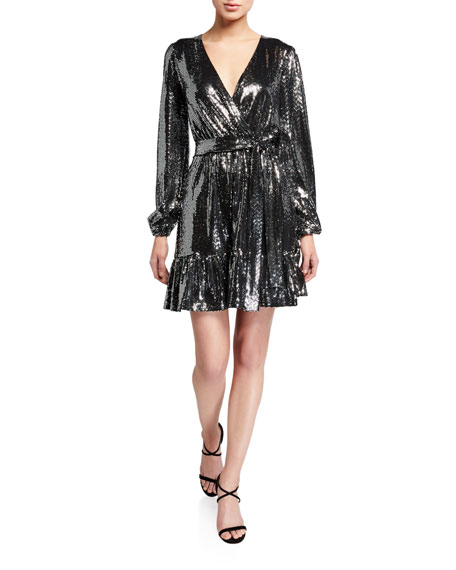MICHAEL Michael Kors Sequin Mirror Dot Blouson-Sleeve Flounce-Hem Dress