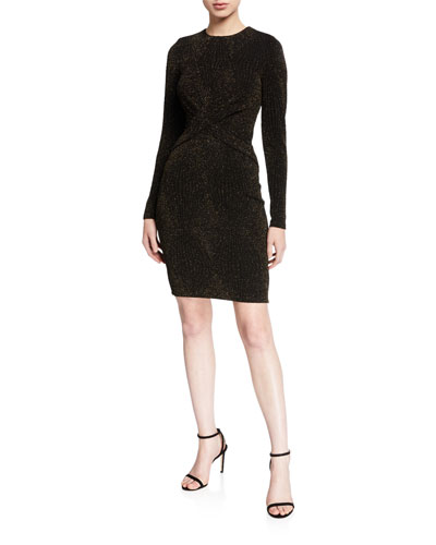 Diamond Metallic Long-Sleeve Twist Dress
