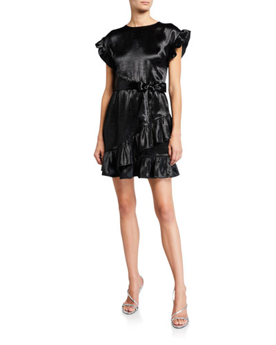 Short-Sleeve Ruffle Wrap Dress