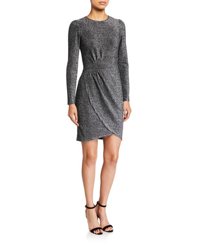 Metallic Long-Sleeve Wrapped Skirt Dress