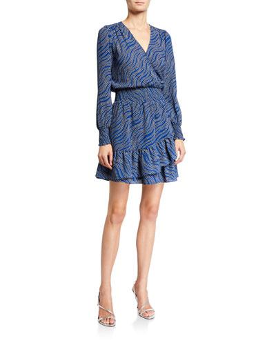 Faux-Wrap Long-Sleeve Smocked Ruffle Dress