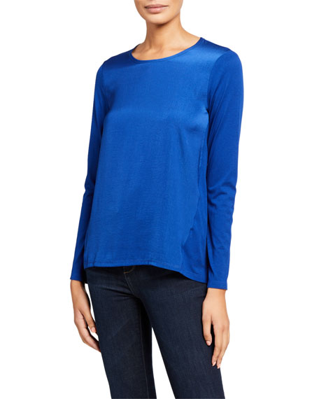 MICHAEL Michael Kors Satin Front Long-Sleeve Woven Combo Top