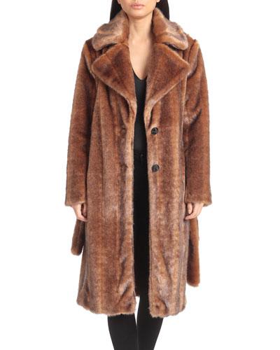 Belted Faux-Mink Coat
