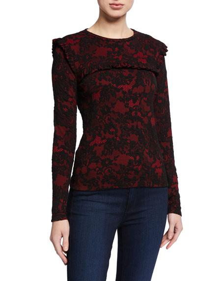 MICHAEL Michael Kors Glam Lace Long-Sleeve Ruffle Trim Top