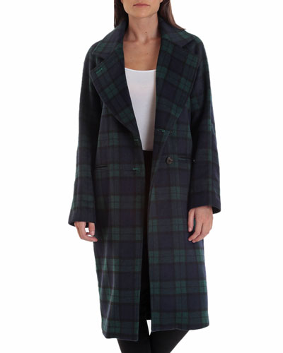 Double-Face Plaid Wool-Blend Raglan Coat