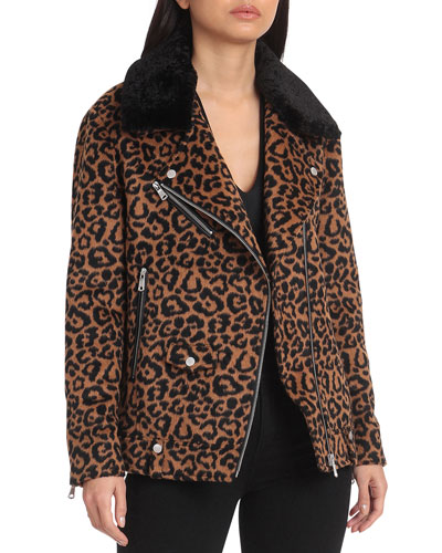 Sherpa Trimmed Leopard Biker Jacket