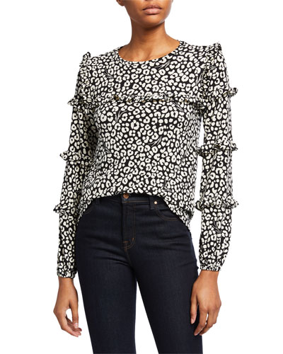 Flat Cat Long-Sleeve Ruffle-Trim Top