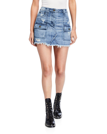 MICHAEL Michael Kors Distressed Denim Mini Skirt