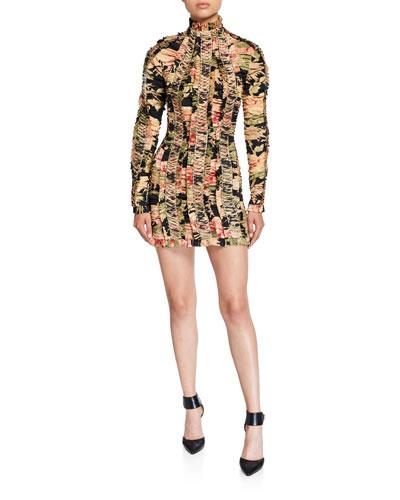 Espionage Mock-Neck Lace-Up Ruched Mini Pencil Dress