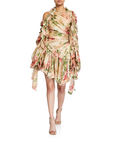 Espionage Drawn Gathered Silk Mini Dress