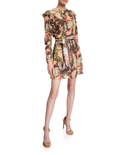 Espionage Silk Ruched Mini Dress with Belt