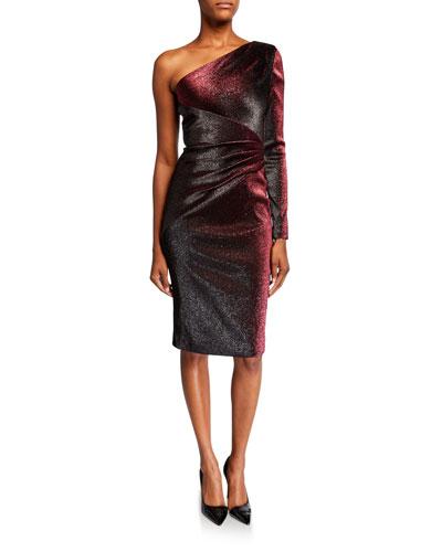 One-Shoulder Metallic Stretch Knee-Length Cocktail Dress