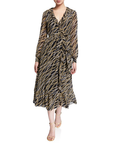 Chain Link Printed Long Sleeve Ruffle Trim Midi Wrap Dress