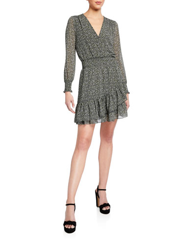 Printed Long-Sleeve Tiered Ruffle Dress