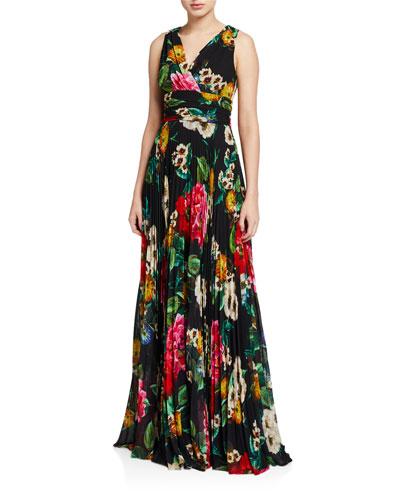 Floral Mock-Wrap Sleeveless Accordion Pleated Dress