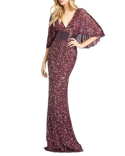 Sequin Plunge-Neck Flutter-Sleeve Column Gown