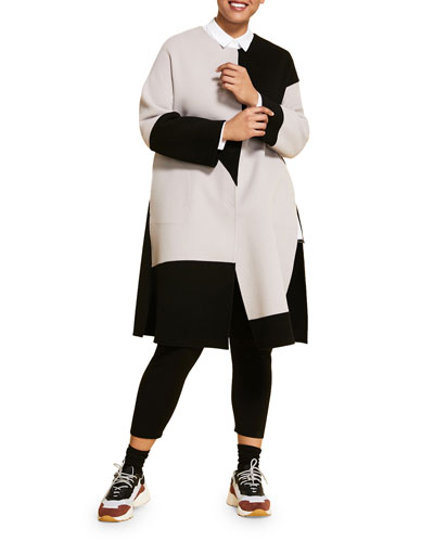 Plus Size Monochrome Double Wool Coat with Side Slits