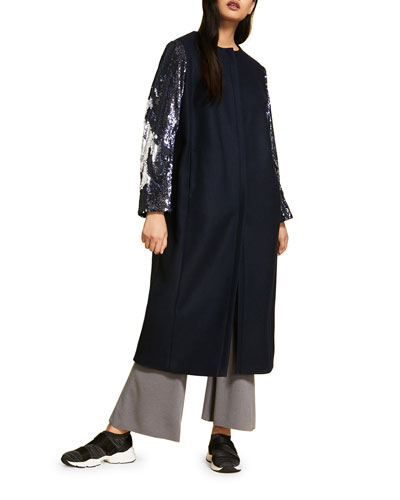 Plus Size Fitted Coat with Sequined Sleeves