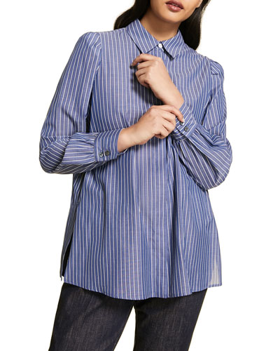 Plus Size Striped Cotton Poplin Long-Sleeve Shirt