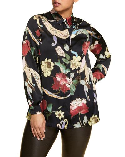 Plus Size Flower-Print Long-Sleeve Satin Shirt