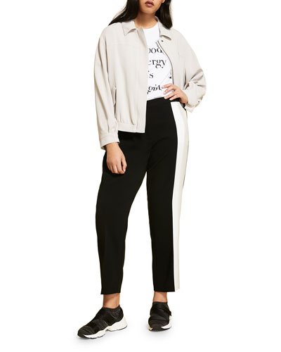 Plus Size Triacetate Ankle Pants with Contrast Side Stripe