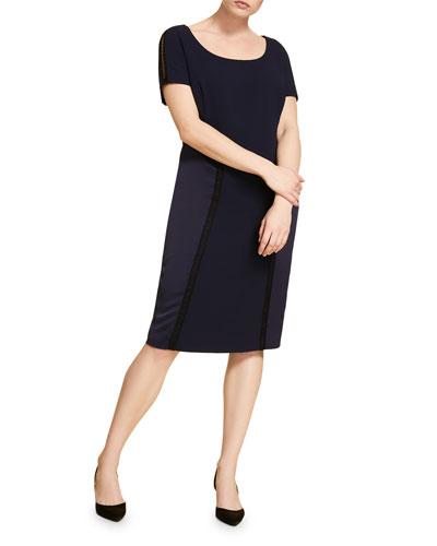Plus Size Scoop-Neck Short-Sleeve Satin Crepe Bodycon Dress