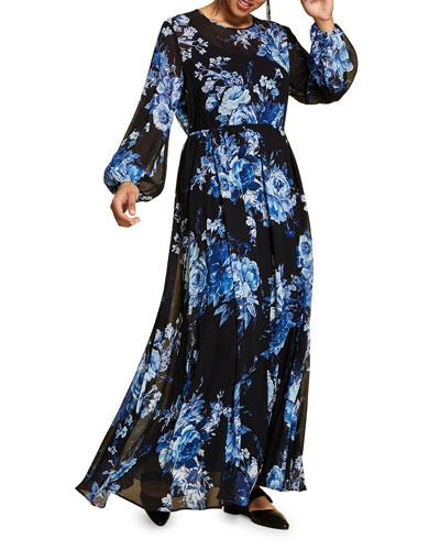 Plus Size Floral-Print Blouson-Sleeve Georgette Maxi Dress