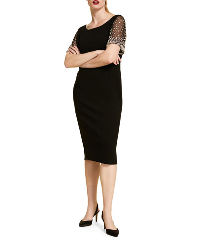 Plus Size Sheath Dress with Bejeweled Short-Sleeves