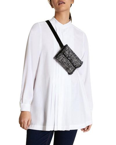 Plus Size Pleated Cotton Poplin Long-Sleeve Shirt