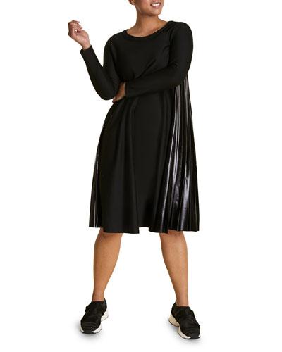 Plus Size Long-Sleeve A-Line Dress with Vinyl Side Pleats