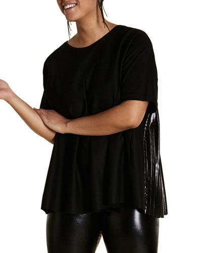 Plus Size Short-Sleeve T-Shirt w/ Vinyl Effect Pleated Back