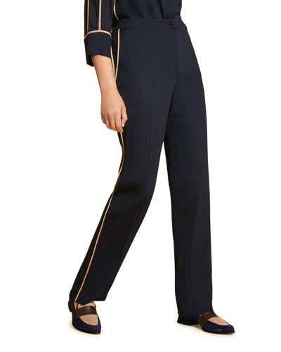 Plus Size Straight-Leg Pants with Contrast Piping
