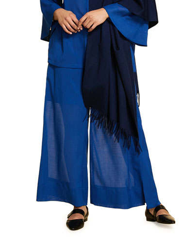 Plus Size Wool Gauze Wide-Leg Pants