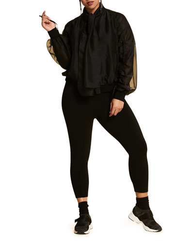 Plus Size Zip-Front Organza Bomber Jacket with Own Scarf