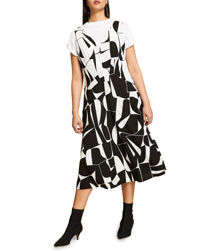 Plus Size Printed Cady Dress with Attachable Sleeves