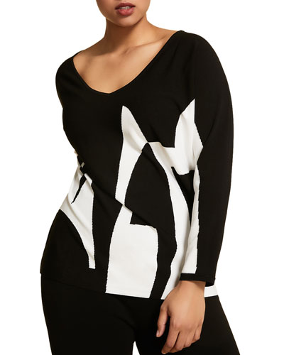 Plus Size Colorblock Oversized V-Neck Sweater