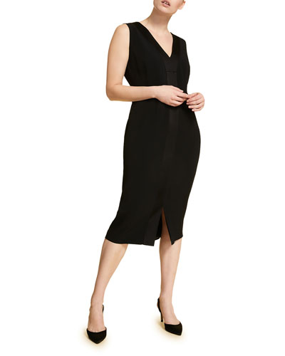 Plus Size V-Neck Sleeveless Sheath Dress w/ Attachable Sleeves