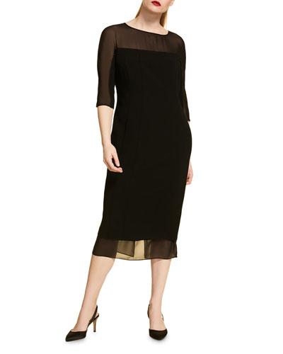 Plus Size Half-Sleeve Sheath Dress with Chiffon Trim