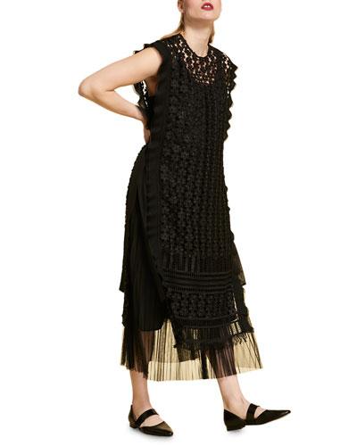 Plus Size Sleeveless Macrame Lace Dress w/ Pleated Underlay
