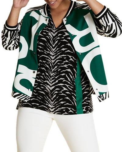 Plus Size Zebra-Print V-Neck Wool Sweater