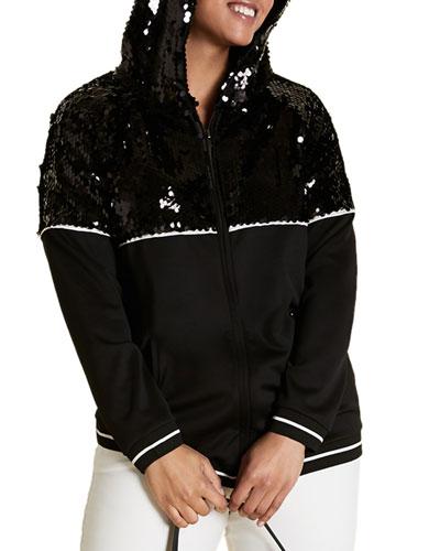 Plus Size Scuba Jersey Zip-Front Hoodie Jacket with Sequins