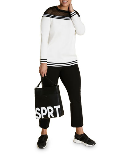 Plus Size Striped Scuba Jersey Sweatshirt w/ Mesh Top Detail