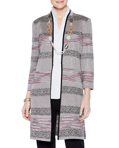 Intarsia Knit Pattern Duster Jacket