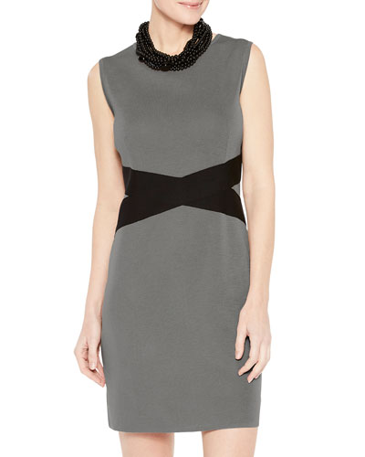 Contrast Twist-Waist Sheath Dress