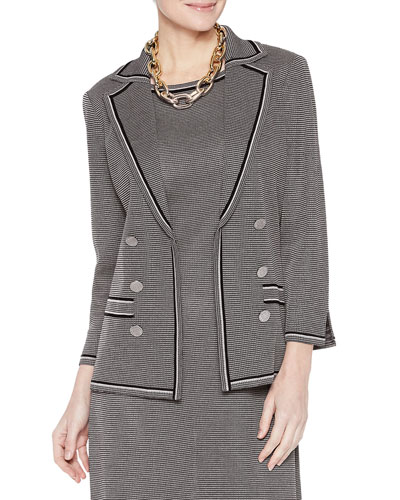 Plus Size Mini Tweed Double Button Jacket