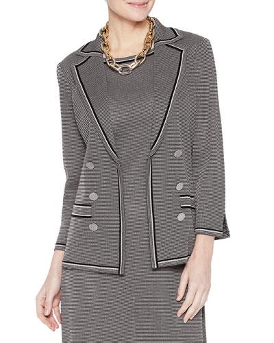 Plus Size Mini Tweed Double Button Jacket