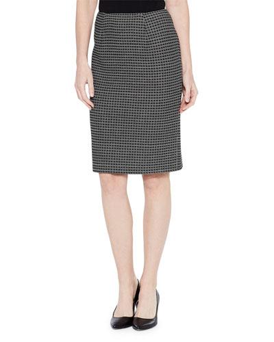 Tonal Grid Pattern Skirt