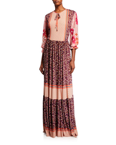 Mixed-Print Long-Sleeve Maxi Dress