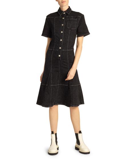 Proenza Schouler White Label Button-Front Denim Flounce Dress